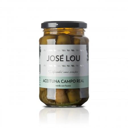 Grüne Cacereña Oliven Campo Real - mit mediterranen Kräutern und Knoblauch - 200g - Aceitunas José Lou