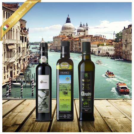 Beste Italienische Olivenöle 2018 - Siegerpaket aus Italien (3 Sieger Olivenöle)