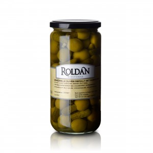 Manzanilla Oliven - gefüllt mit Gürkchen - 410g - Roldan   13036