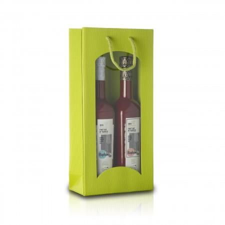 2er - Geschenktragetasche mit Fenster - Limette
