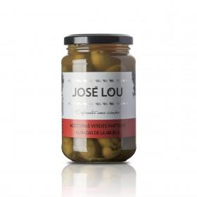 Grüne Verdial Oliven mit Kern - nach Großmutters Art eingelegt mit Paprika und Knoblauch - 200g - Aceitunas José Lou