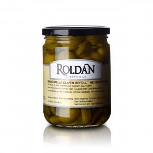 Manzanilla Oliven - gefüllt mit Gürkchen - 230g - Roldan - MHD 03/17   13031-B