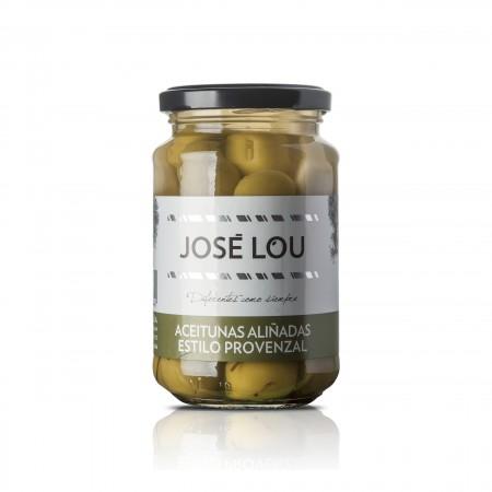 Grüne Manzanilla Oliven - Provenzalische Art - Kräuter Knoblauch - 200g - Aceitunas José Lou