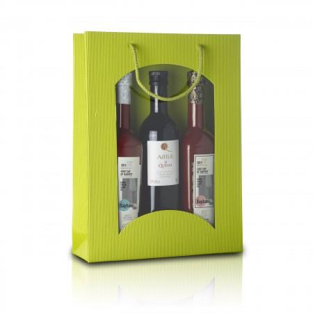 3er - Geschenktragetasche mit Fenster - Limette