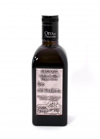 Oro del Desierte Coupage Bio Olivenöl in der Flasche - Front-Ansicht