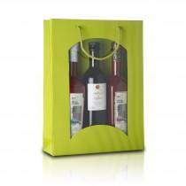 3er - Geschenktragetasche mit Fenster - Limette   14023